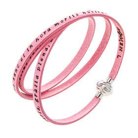AMEN bracelets: Amen Bracelet in pink leather Hail Mary LAT