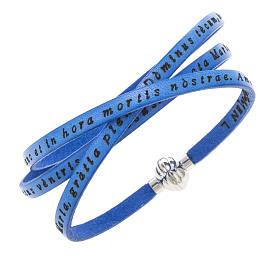 AMEN bracelets: Amen Bracelet in blue leather Hail Mary LAT