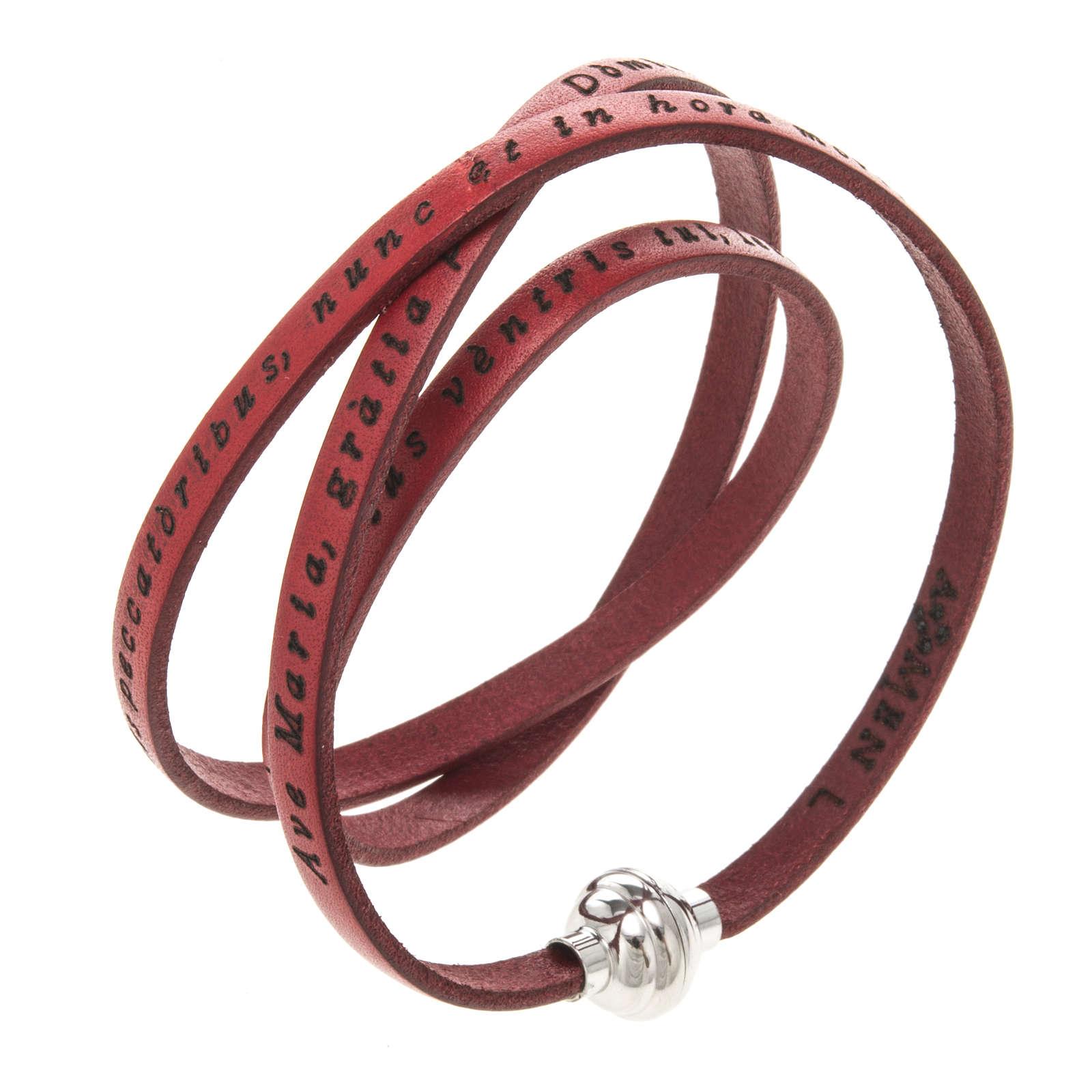 Bracelet Amen Je Vous Salue Marie rouge LAT 4
