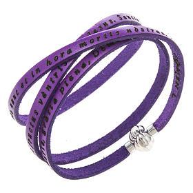 AMEN bracelets: Amen Bracelet in purple leather Hail Mary LAT