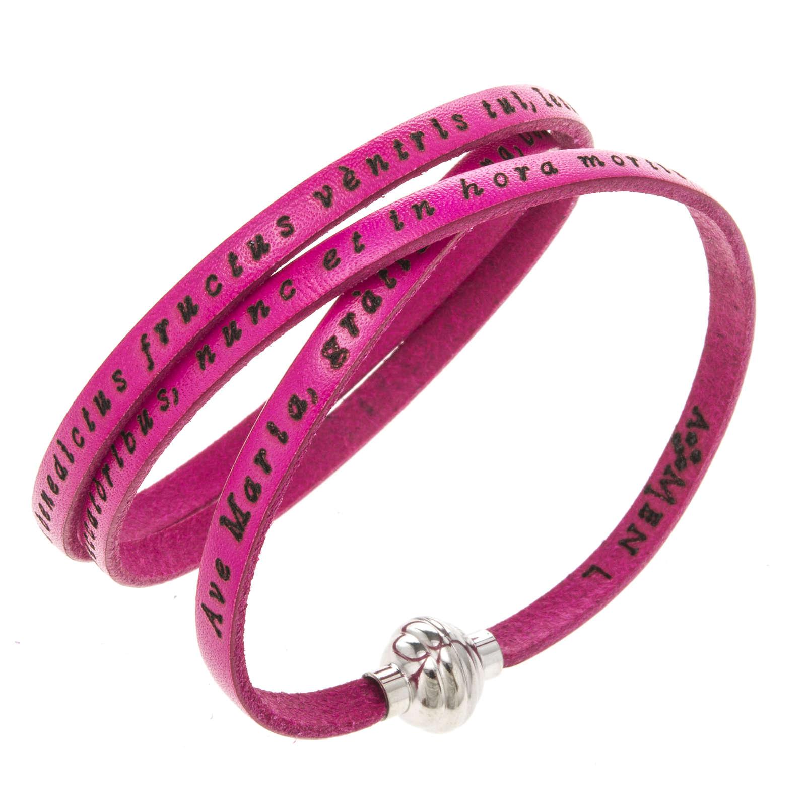 Bracelet Amen Je Vous Salue Marie fuchsia LAT 4