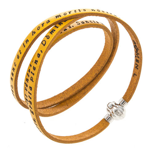 Amen Bracelet in yellow leather Hail Mary LAT 1