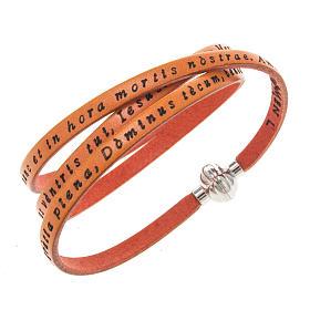 AMEN bracelets: Amen Bracelet in orange leather Hail Mary LAT