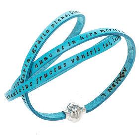 AMEN bracelets: Amen Bracelet in turquoise leather Hail Mary LAT
