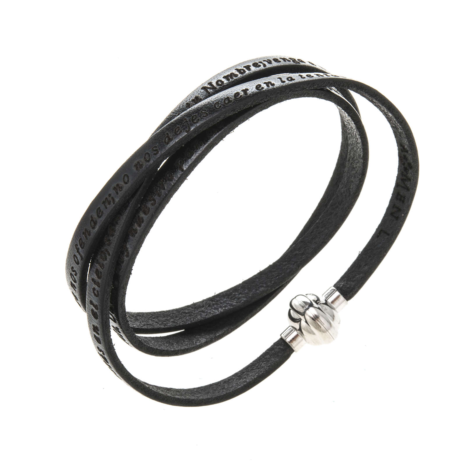 Amen Bracelet in black leather Our Father SPA 4