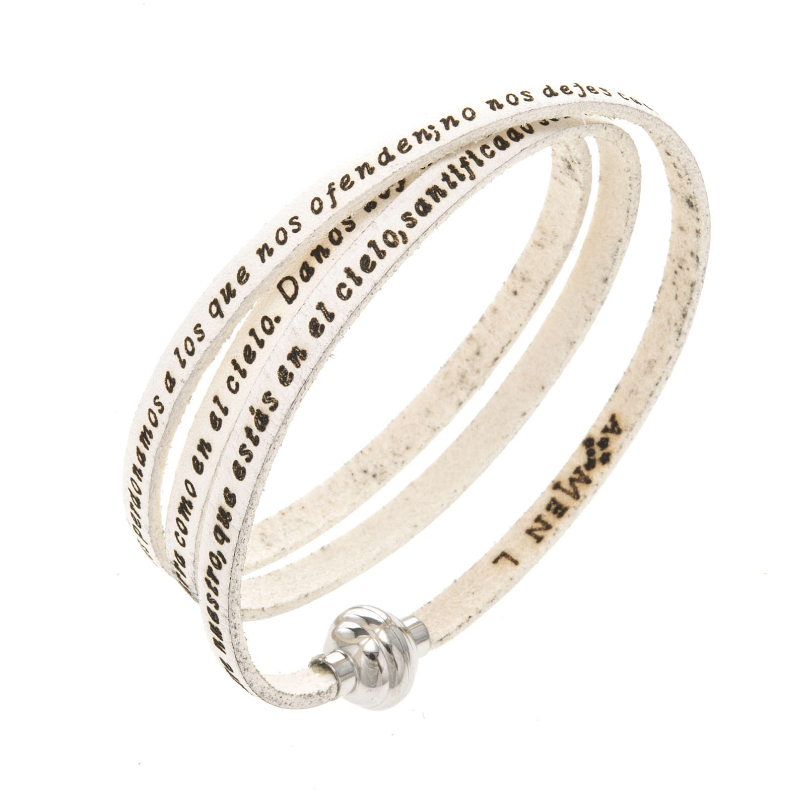 Amen Bracelet in white leather Our Father SPA 4