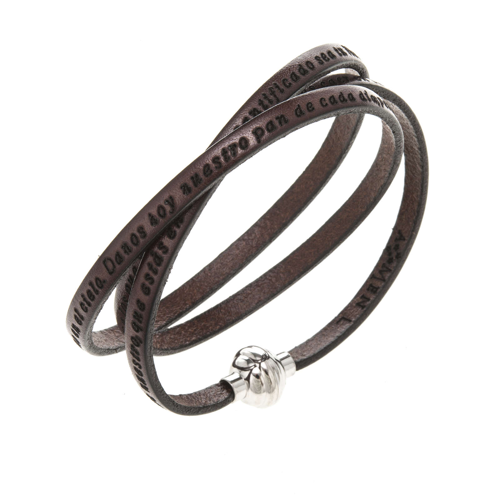 Amen Bracelet in brown leather Our Father SPA 4