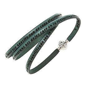 AMEN bracelets: Amen Bracelet in green leather Our Father SPA