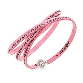 AMEN bracelets: Amen Bracelet in pink leather Our Father SPA