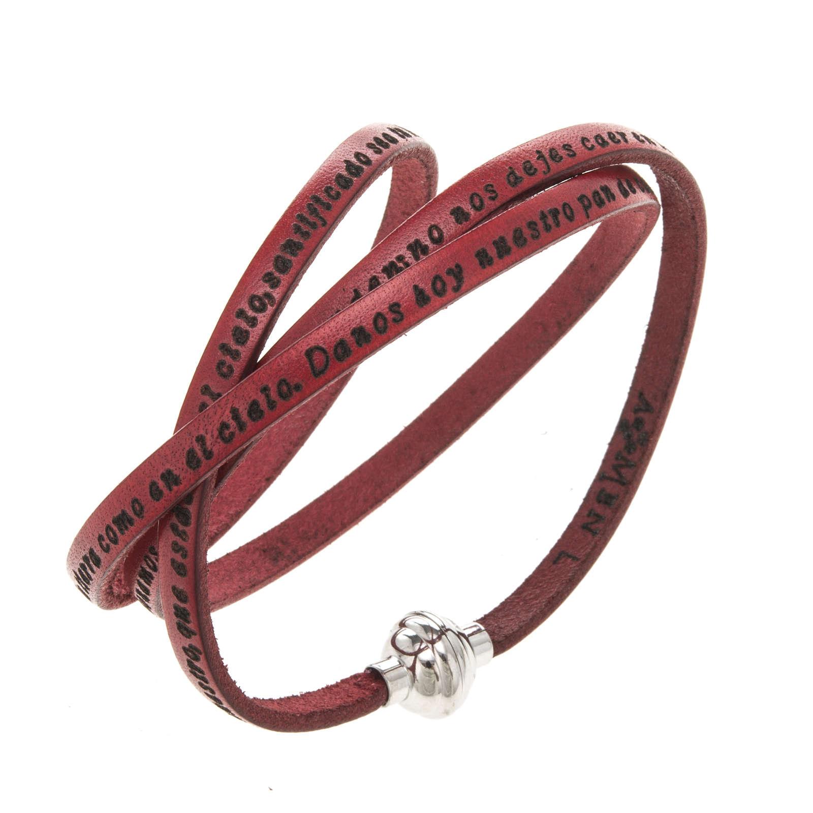 Bracelet Amen Notre Père rouge ESP 4