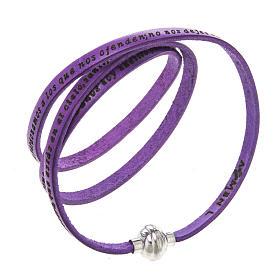 AMEN bracelets: Amen Bracelet in purple leather Our Father SPA
