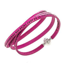 AMEN bracelets: Amen Bracelet in fuchsia leather Our Father SPA