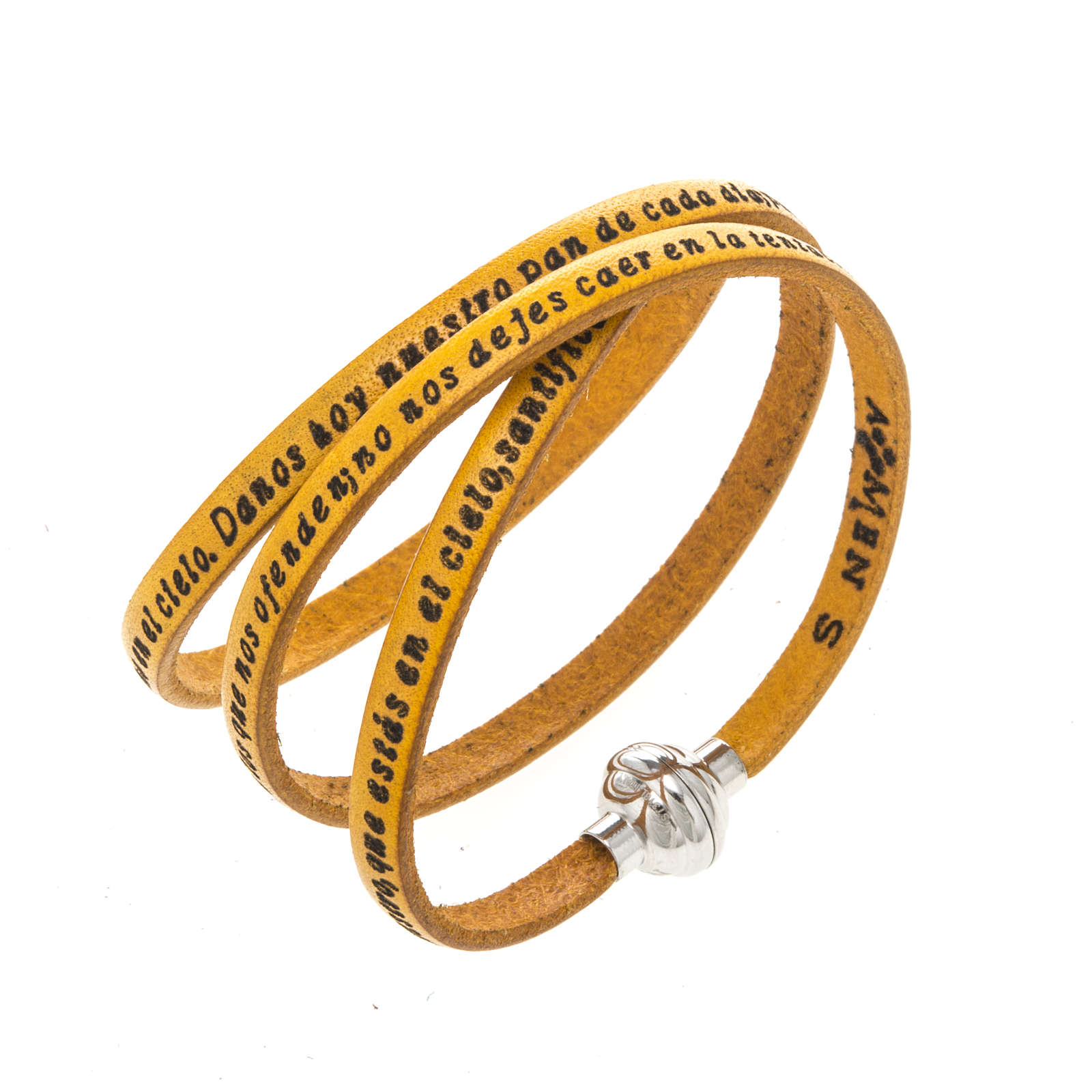 Amen Bracelet in yellow leather Our Father SPA 4