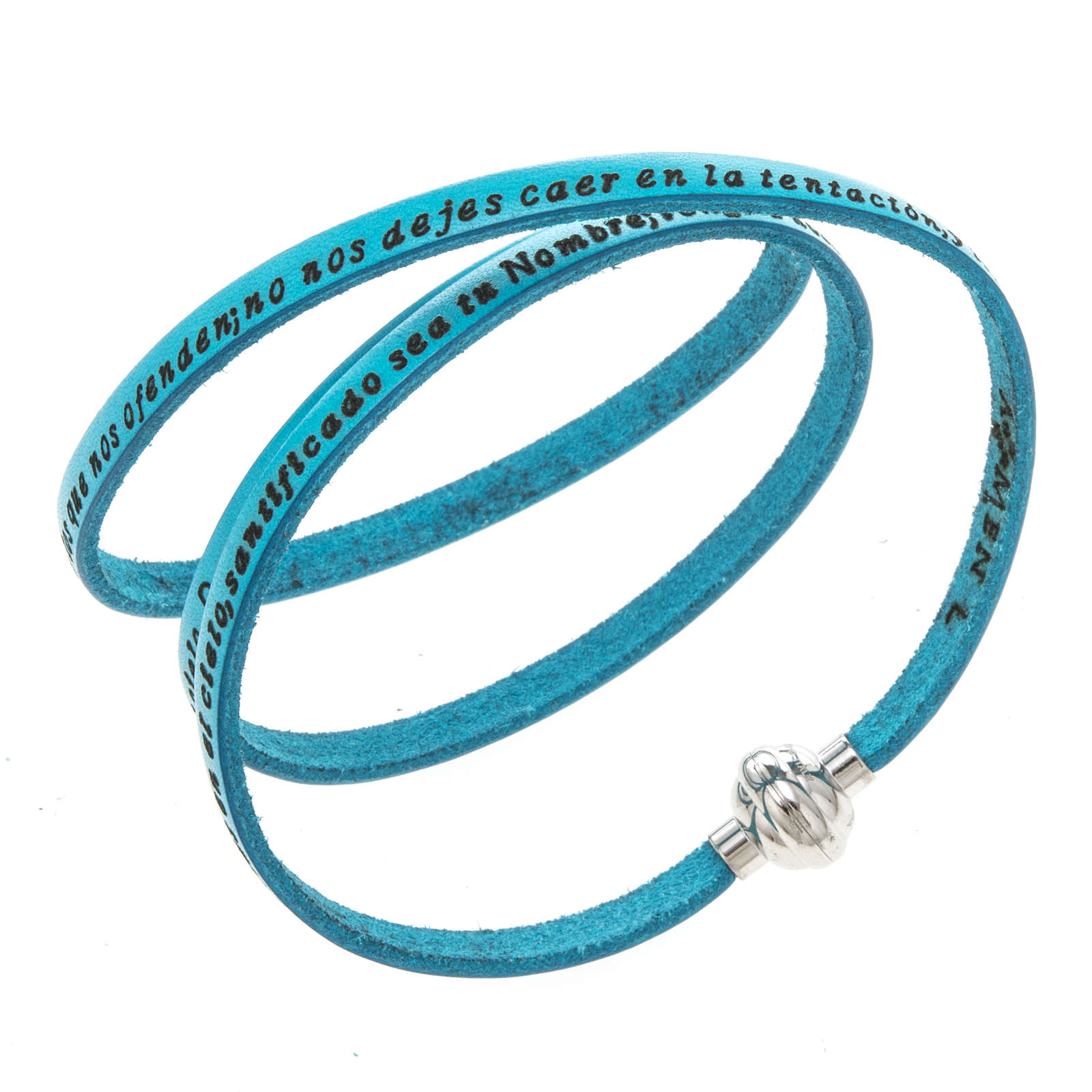 Amen Bracelet in turquoise leather Our Father SPA 4