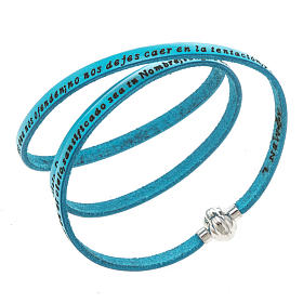 AMEN bracelets: Amen Bracelet in turquoise leather Our Father SPA