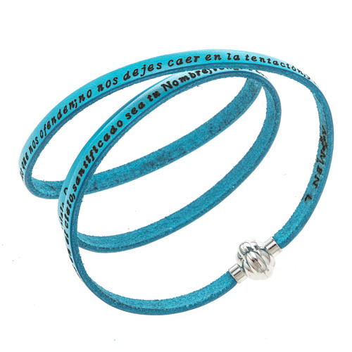 Amen Bracelet in turquoise leather Our Father SPA 1