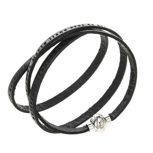 Bracelet Amen Je Vous Salue Marie noir ESP 1