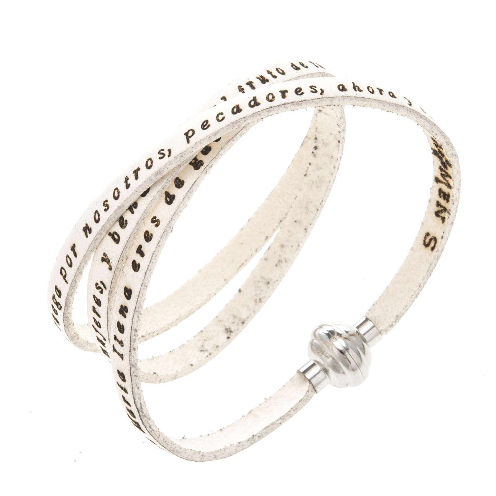 Amen Bracelet in white leather Hail Mary SPA 4