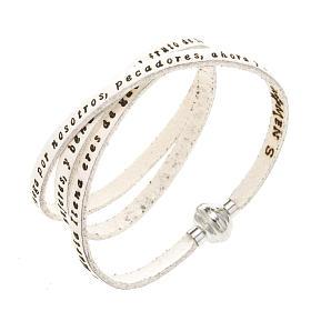 AMEN bracelets: Amen Bracelet in white leather Hail Mary SPA