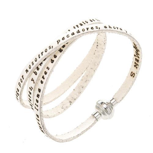 Amen Bracelet in white leather Hail Mary SPA 1