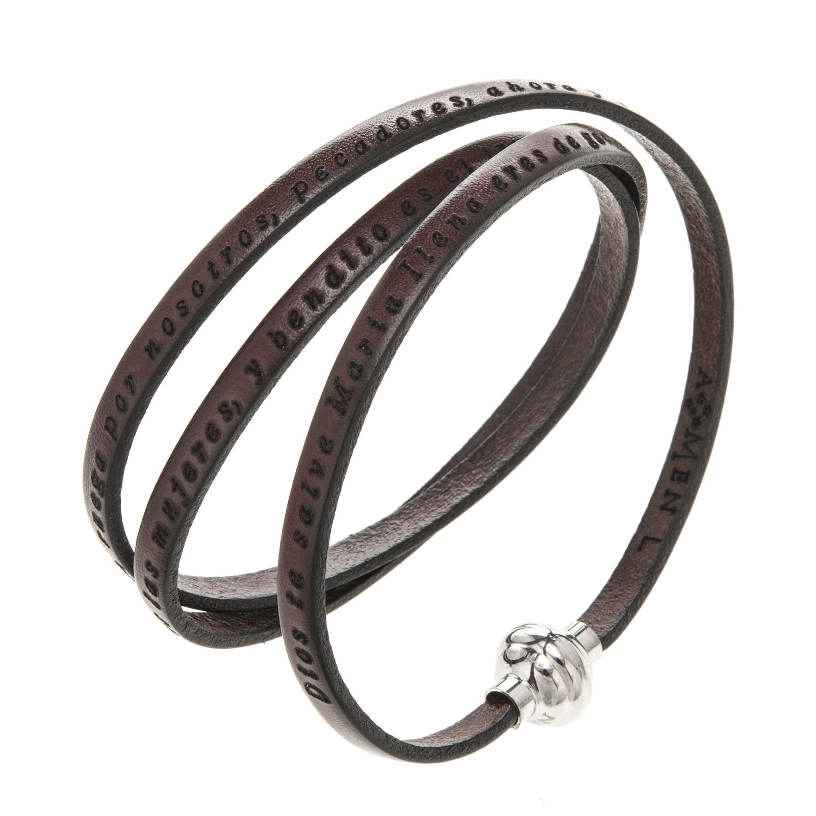 Amen Bracelet in brown leather Hail Mary SPA 4