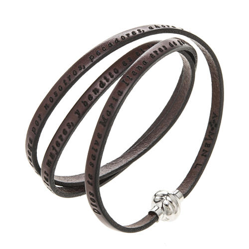 Amen Bracelet in brown leather Hail Mary SPA 1