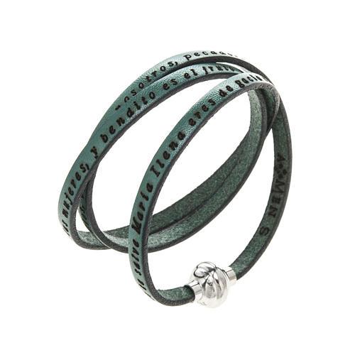 Bracelet Amen Je Vous Salue Marie vert ESP 1