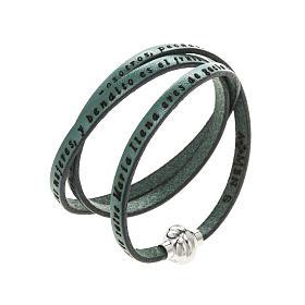 AMEN bracelets: Amen Bracelet in green leather Hail Mary SPA