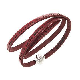 AMEN bracelets: Amen Bracelet in red leather Hail Mary SPA