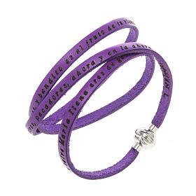 AMEN bracelets: Amen Bracelet in purple leather Hail Mary SPA