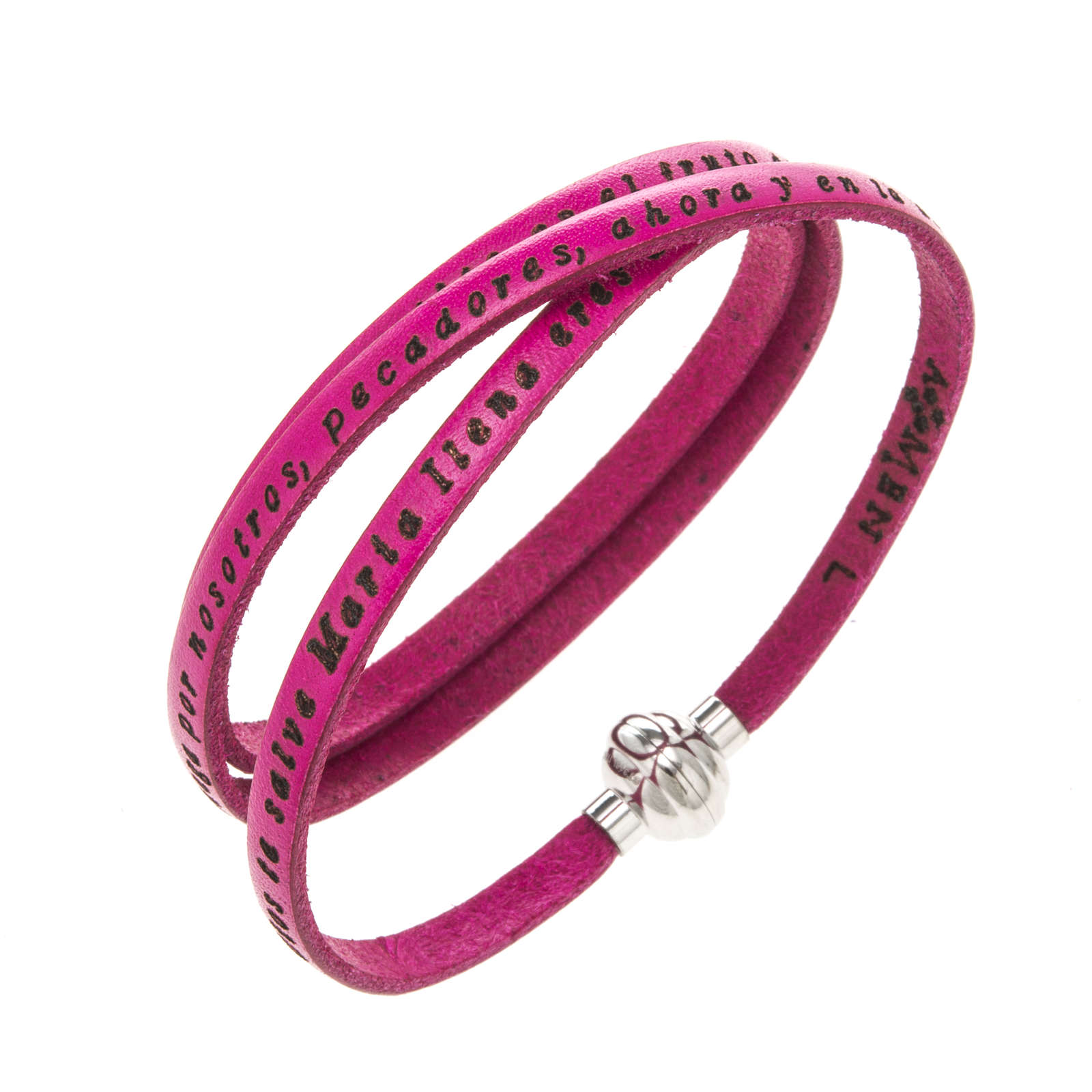 Bracelet Amen Je Vous Salue Marie fuchsia ESP 4