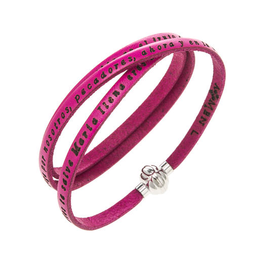 Bracelet Amen Je Vous Salue Marie fuchsia ESP 1