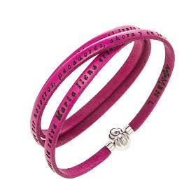AMEN bracelets: Amen Bracelet in fuchsia leather Hail Mary SPA