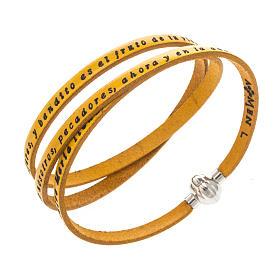 AMEN bracelets: Amen Bracelet in yellow leather Hail Mary SPA