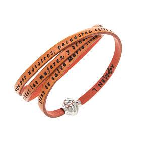 AMEN bracelets: Amen Bracelet in orange leather Hail Mary SPA