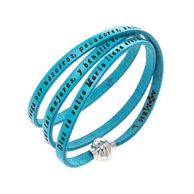 AMEN bracelets: Amen Bracelet in turquoise leather Hail Mary SPA