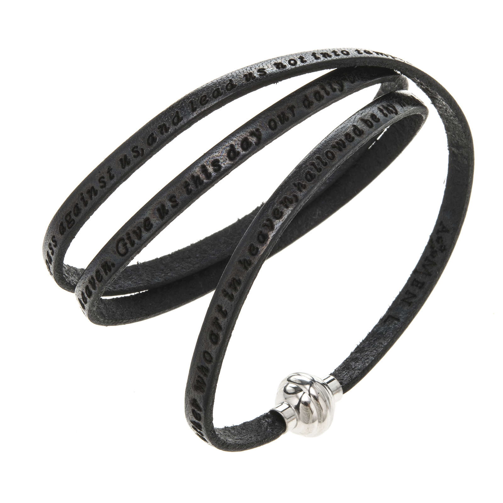 Amen Bracelet in black leather Our Father ENG 4