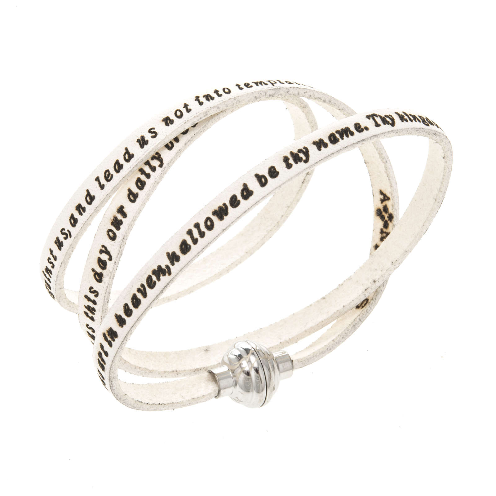 Bracelet Amen Notre Père blanc ANG 4
