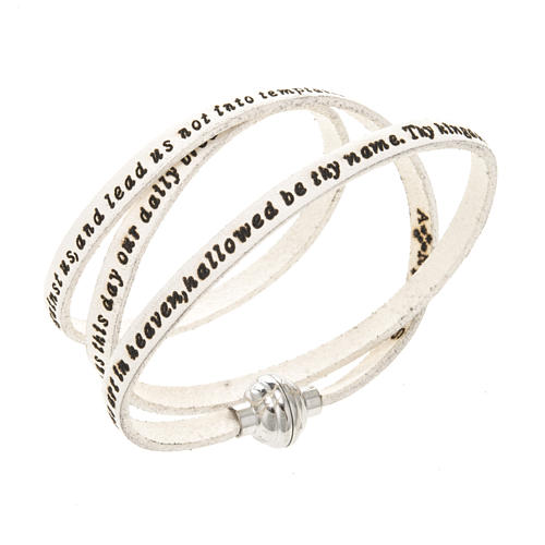 Bracelet Amen Notre Père blanc ANG 1