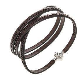 AMEN bracelets: Amen Bracelet in brown leather Our Father ENG