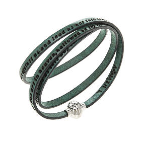 AMEN bracelets: Amen Bracelet in green leather Our Father ENG