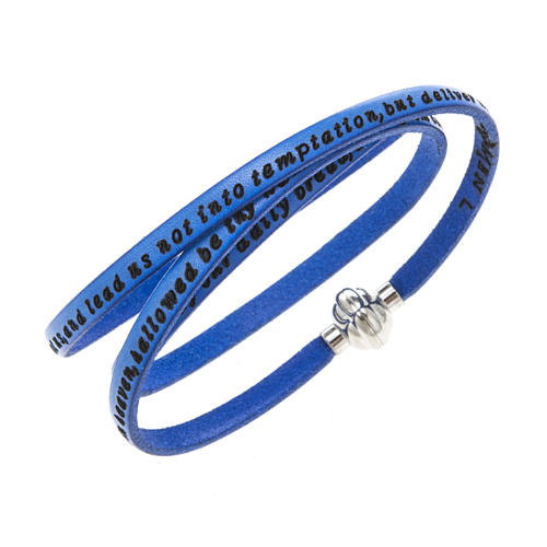 Amen Bracelet in blue leather Our Father ENG 1