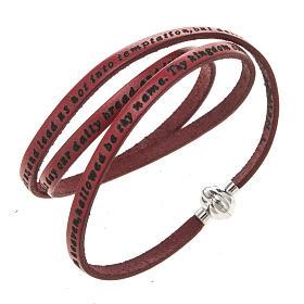 AMEN bracelets: Amen Bracelet in red leather Our Father ENG