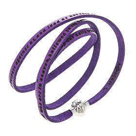 Amen Bracelet in purple leather Our Father ENG s1