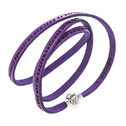Amen Bracelet in purple leather Our Father ENG 1