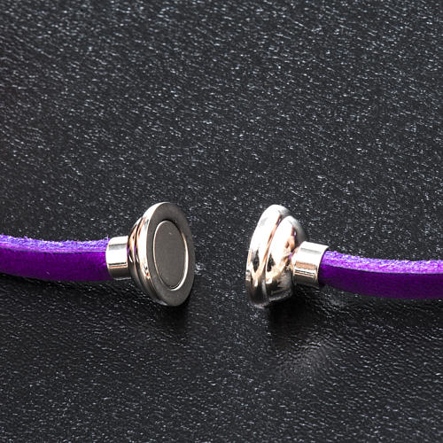 Amen Bracelet in purple leather Our Father ENG 2