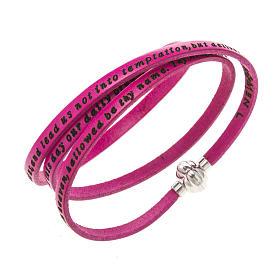 AMEN bracelets: Amen Bracelet in fuchsia leather Our Father ENG