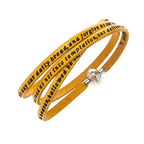Amen Bracelet in yellow leather Our Father ENG 1