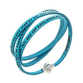 AMEN bracelets: Amen Bracelet in turquoise leather Our Father ENG