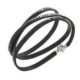 AMEN bracelets: Amen Bracelet in black leather Hail Mary ENG